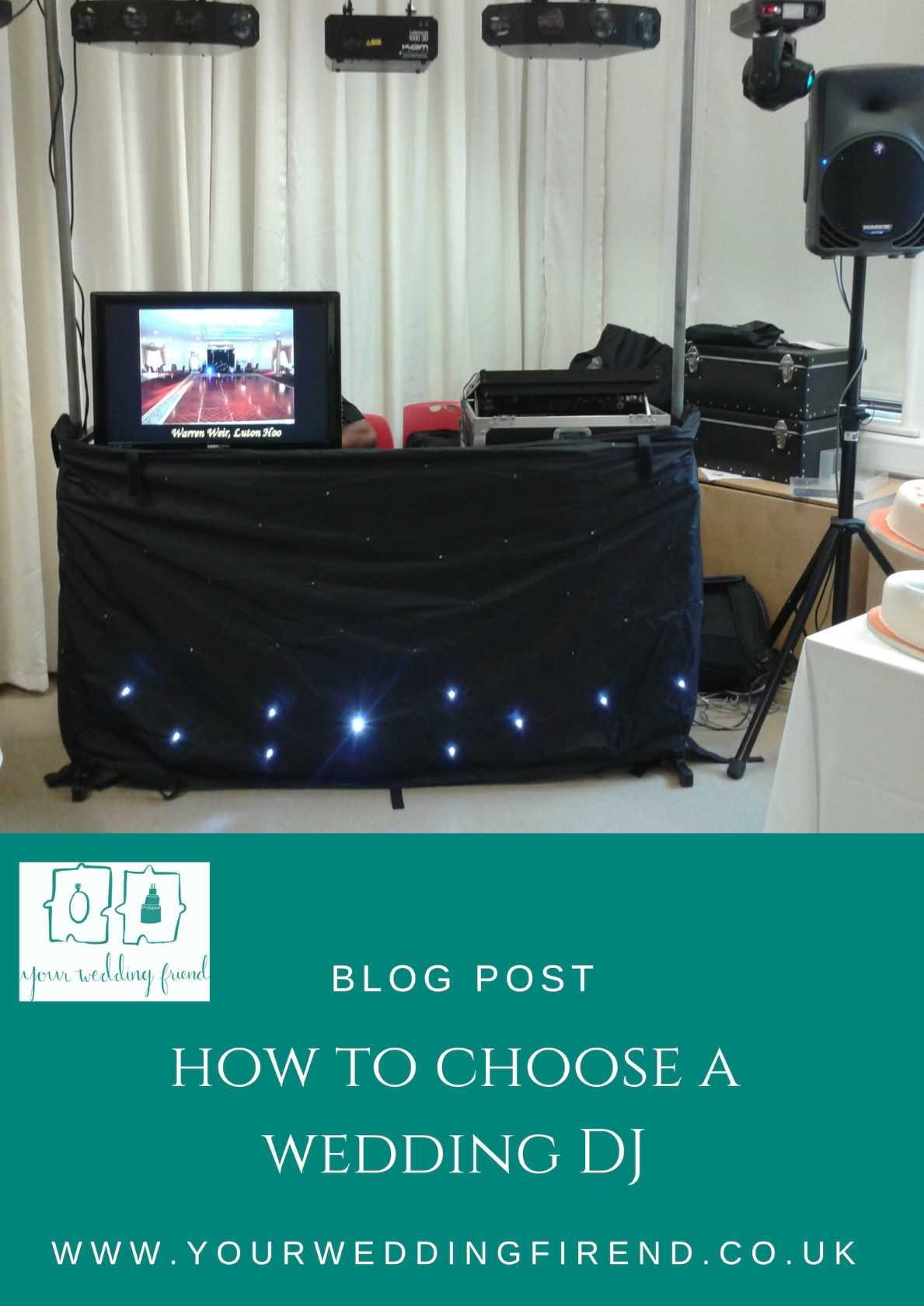 picture is of a dj booth with lights and speakers on stands and the title of the blog