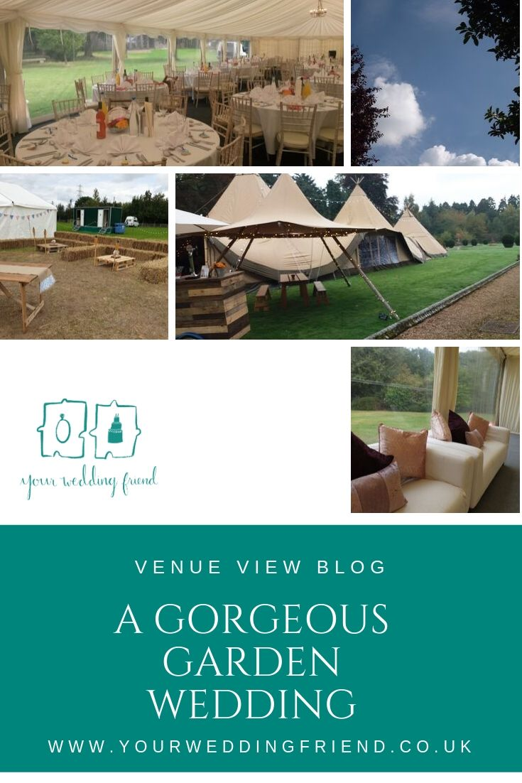 Picture of a marquee, a tipi and views of the insid looking out to a garden