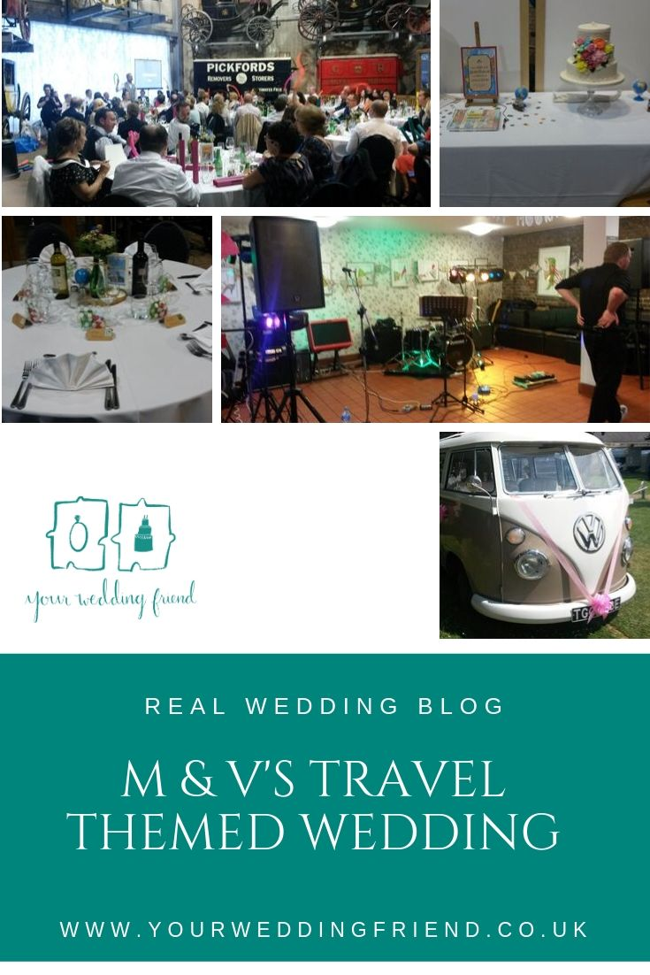 A selection of pictures show the details of this wedding including a picture of their beautiful travel themed wedding cake table and table centres with tiny globes and stamps from around the world, it also shows their wedding breakfast room which includes