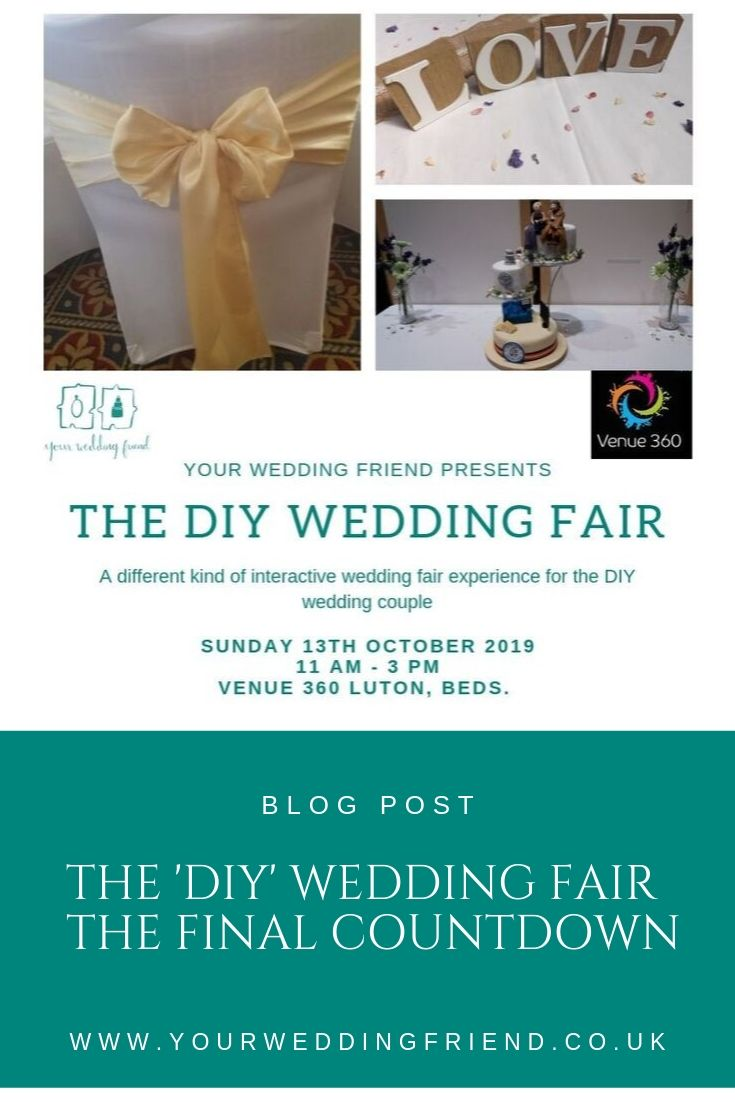 The image is of the event page flyer it includes the picture of a white covered chair with a pale yellow satin bow tied to it and a fancy cake made with the bottom tier of the cake made to look like a boater with a blue sofa and a tv on top, the next tier