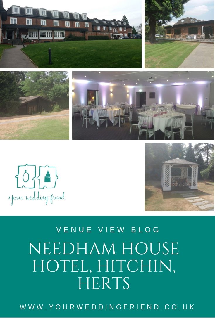 Pictures of the venue including the pagoda, and lodge in the grounds, as well as the front of the hotel. Also a picture of the main function room with hints of purple chiffon chair sashes,
