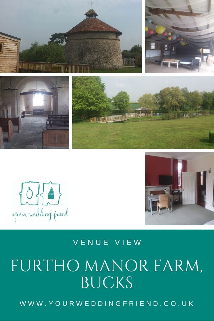 5 seperate images show the grounds, barn and church at Furtho Manor Farm