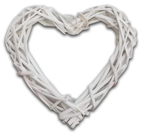 white wicker heart wedding accessory