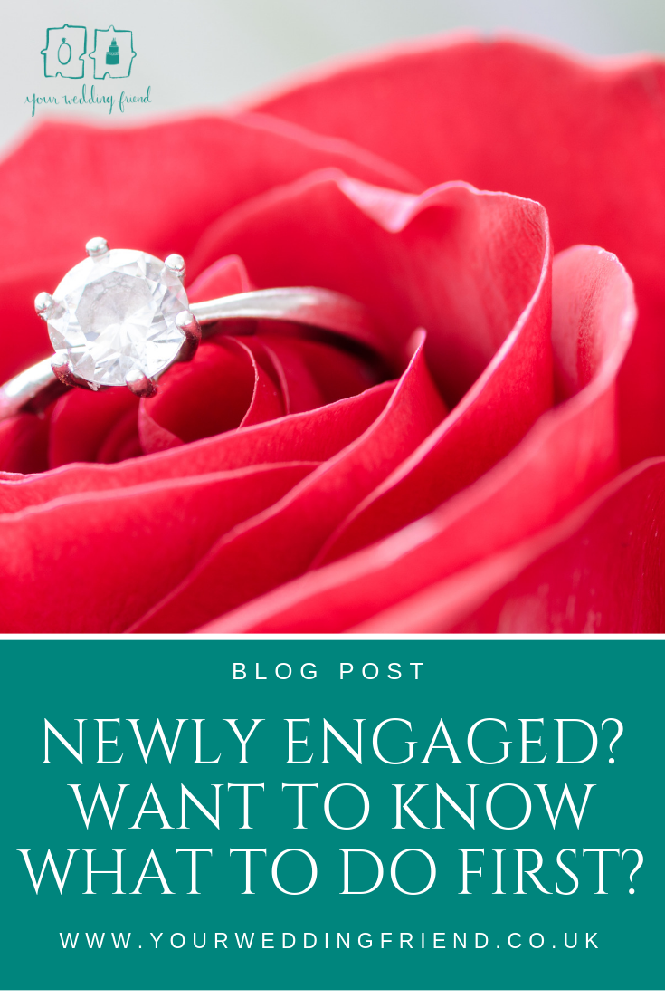 image of a red rose with a diamond engagement ring in it, text reads 'newly engaged? want to know what to do first?'