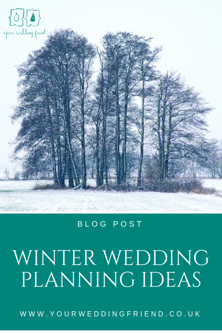 Tall leafless trees in a snowy field with the title of the blog