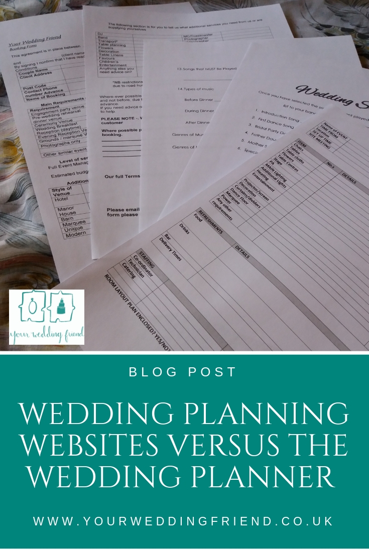 image is of sheets of forms related to planning your wedding with Your Wedding Friend