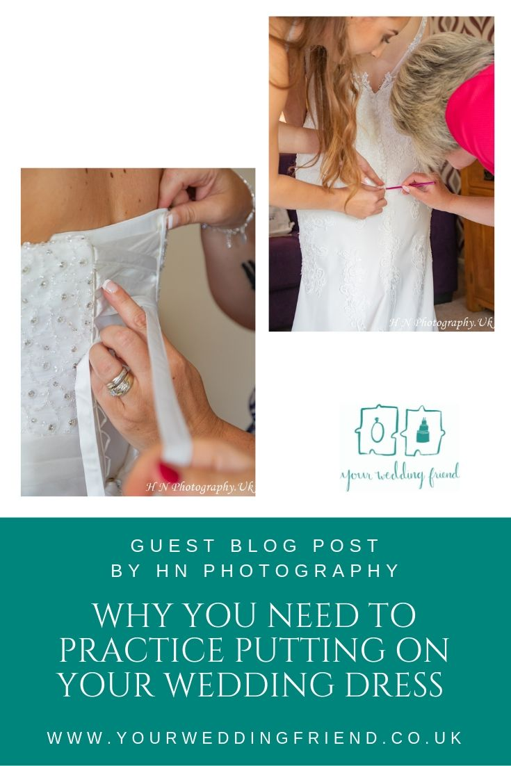 Two pictures; one shows a bride being tied into her lace back wedding dress and the other being crochet hooked into her wedding dress, below the images is the YOur Wedding Friend logo and the title of the blog