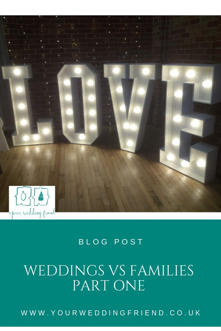 Photo of 4ft tall light up LOVE letters in a hall with red brick, below that the title of the blog and the Your Wedding Friend puzzle piece logo