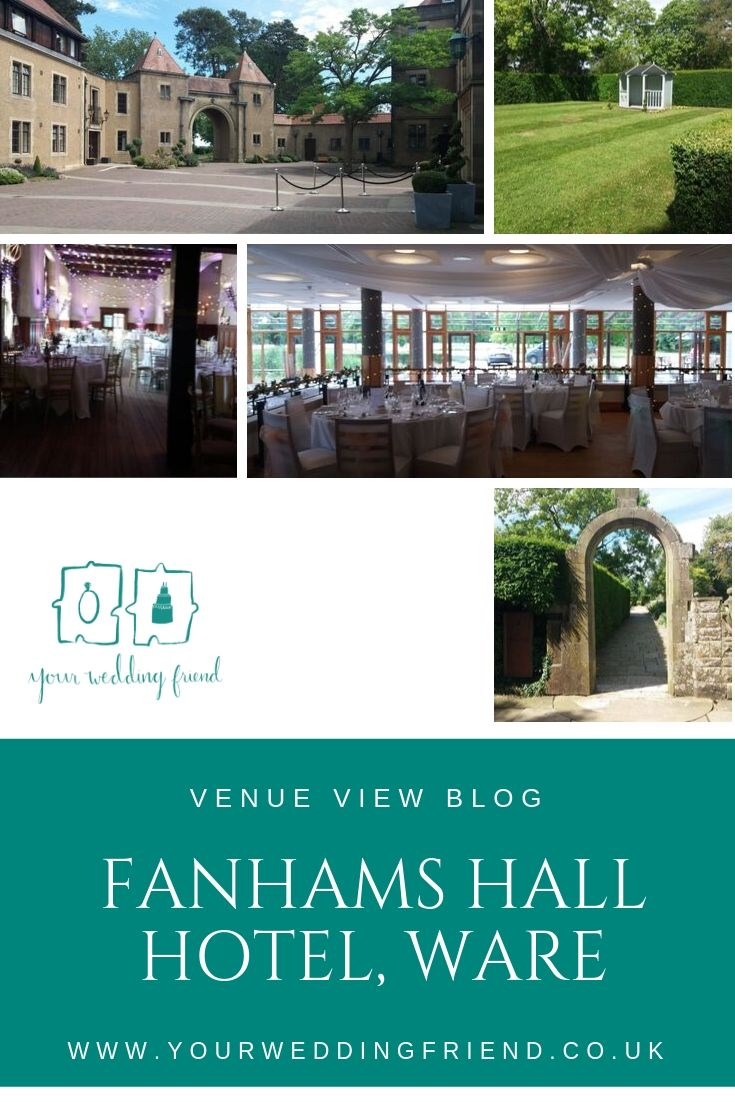 A selection of pictures of teh venue is shown above the blog title, thes include the outside entrance to the hotel, the Great Hall and Laekside Pavilion, as well as general shots of areas of the grounds which couples might use for photographs