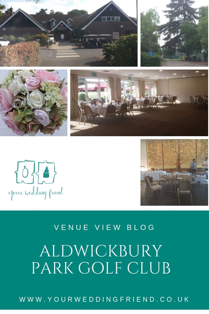 Photos of the outside of the beautiful Hertfordshire  wedding venue, and the reception room from two different angles; one shows the wedding venue's wall with a swirly beige pattern, the other shows the windows overlooking the golf course.