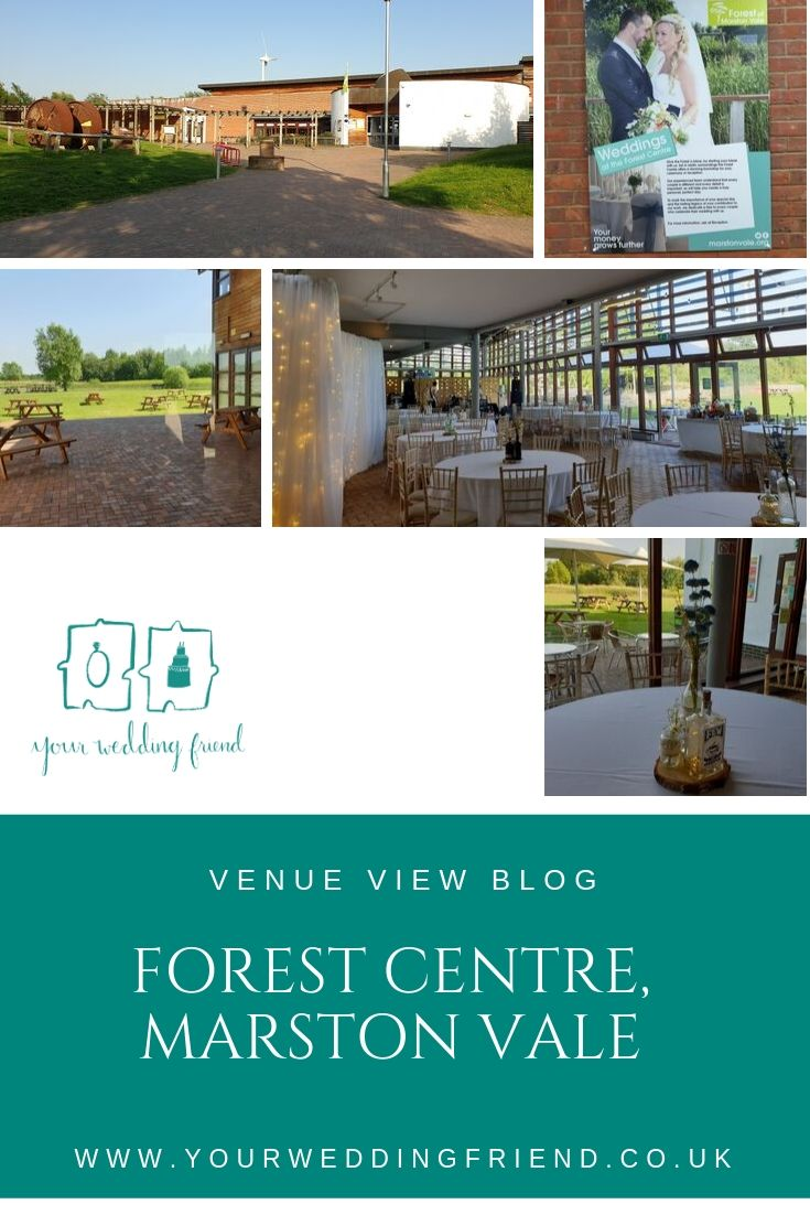 Pictures of the venue including the front view of the building, the view from the main venue into the parkland beyond, a picture of the main space set up for a reception and close up of a table centre made from a gin bottle and flowers on a log slice, the