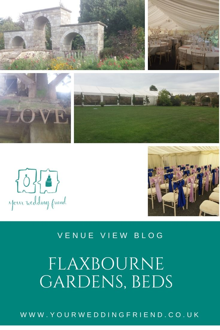 Pictures include: one of the outside of the marquee showing a lawn and flower beds, the inside of the marquee with a table set up for a wedding breakfast with a cherrt blossom tree and rose gold sparkly table swah and cariacatures of the wedding guests us