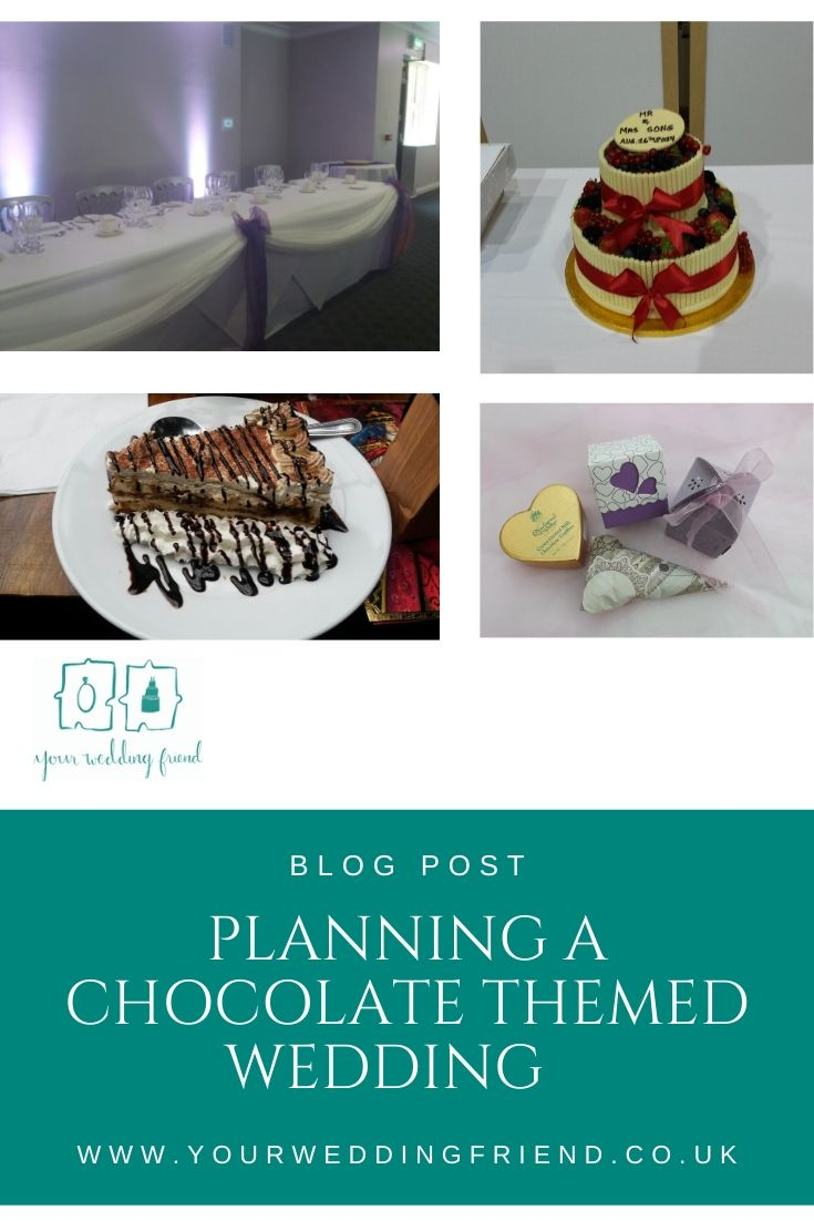 Pictures include a chocolate sauce drizzled tiramisu, a white chocolate swirl covered 2 tier wedding cake, a top table set up with purple elements to reflect the Cadburys chocolate theme and a selection of favour holding ideas (a patterned paper cone, a b