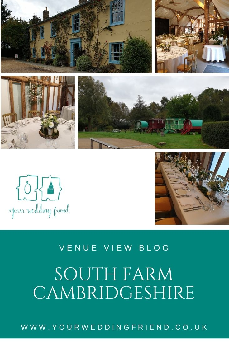 Picrures of South Farm include the outside of the farm house which is painted yellow with bright blue window and door frames, an image of their gypsy caravans, the Tudor barn set up for a wedding breakfast showing the high ceiling woodne beams, a close up