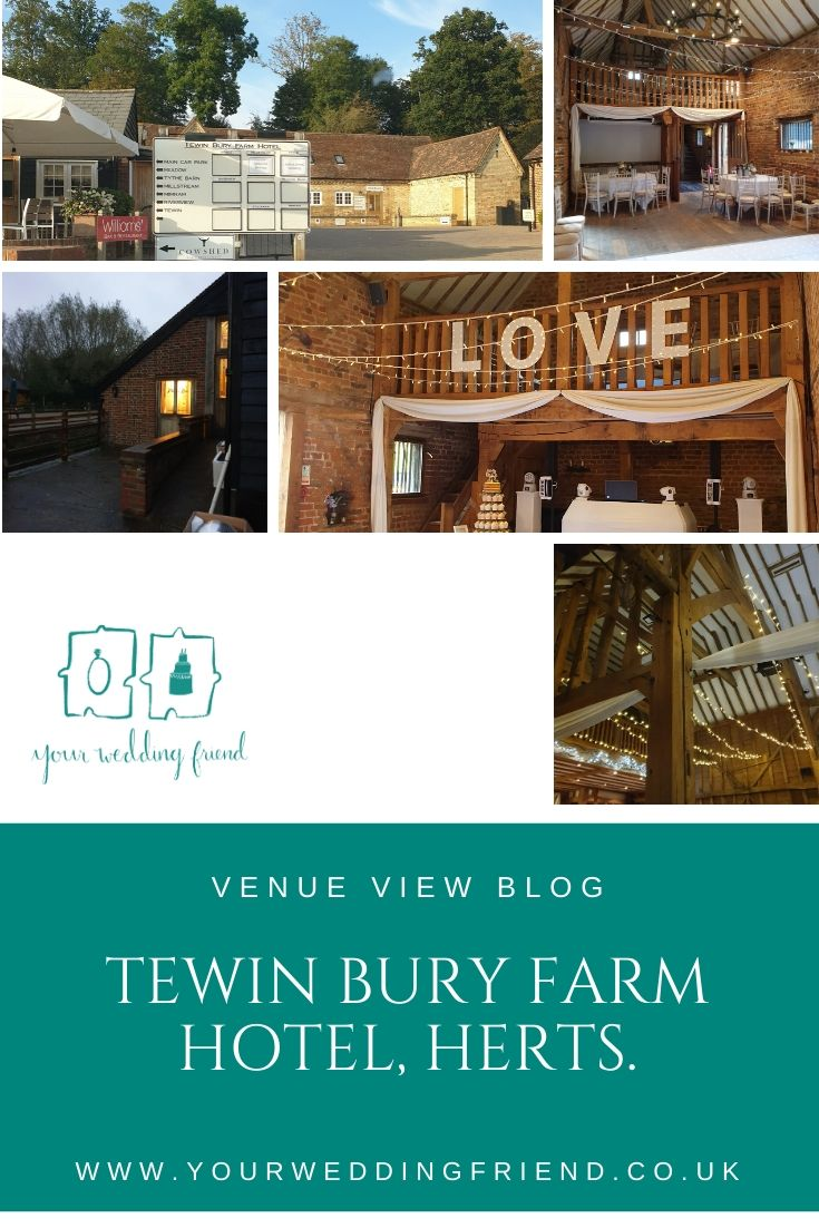 Image shows 5 pictures of the venue from the outside - the car park with a sign for the venue, and a view of the river, also includes pictures of 2 of the barns showing the ceiling and fairy lights,