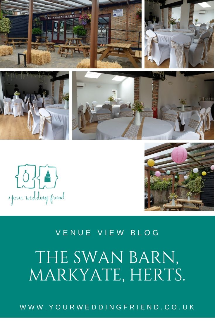 The 5 Pictures show the outside covered patio area of The Swan Barn, including with paper lantern decorations; the inside is decorated with wisteria vines hanging from the black beams and round tables with white cloths. Each chair is decorated with a whit