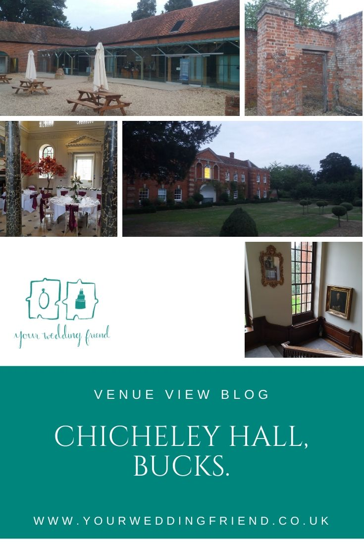 Pictures of the outside of Chicheley Hall, where a marquee can be erected, as well as the grand looking wide staircase, one of the main buildings off the hall and an interior shot showing tables and chairs set up with autumnal centre pieces in the main ha