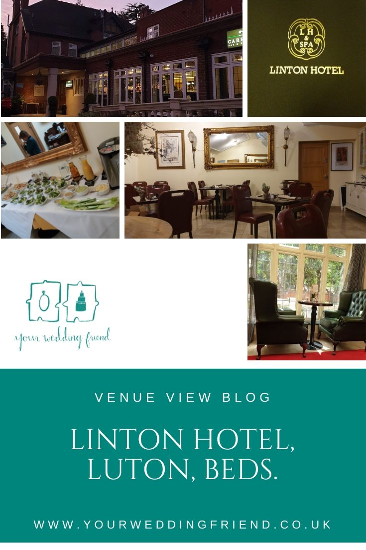 Various images of the Linton Hotel include the outside and sunset showing the wheelchair ramp and second entrance directly into the Carriages restaurant, plus pictures inside including the reception area and a buffet set up