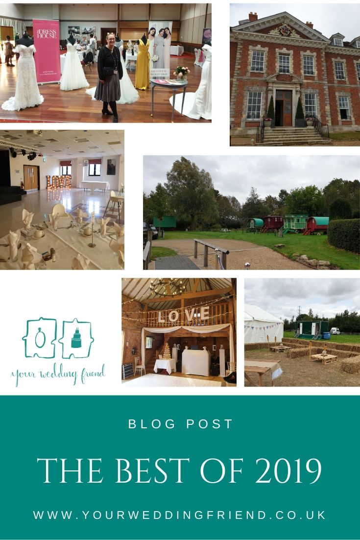 Pictures include the traditional gypsy caravans at South Farm, a field wedding venue, the DIY Wedding Fair, LOVE letters set up at The Sharnbrook, The mansion house at Beechwood Park School and more lOVE letters set up on the balcony of the stables at Tew