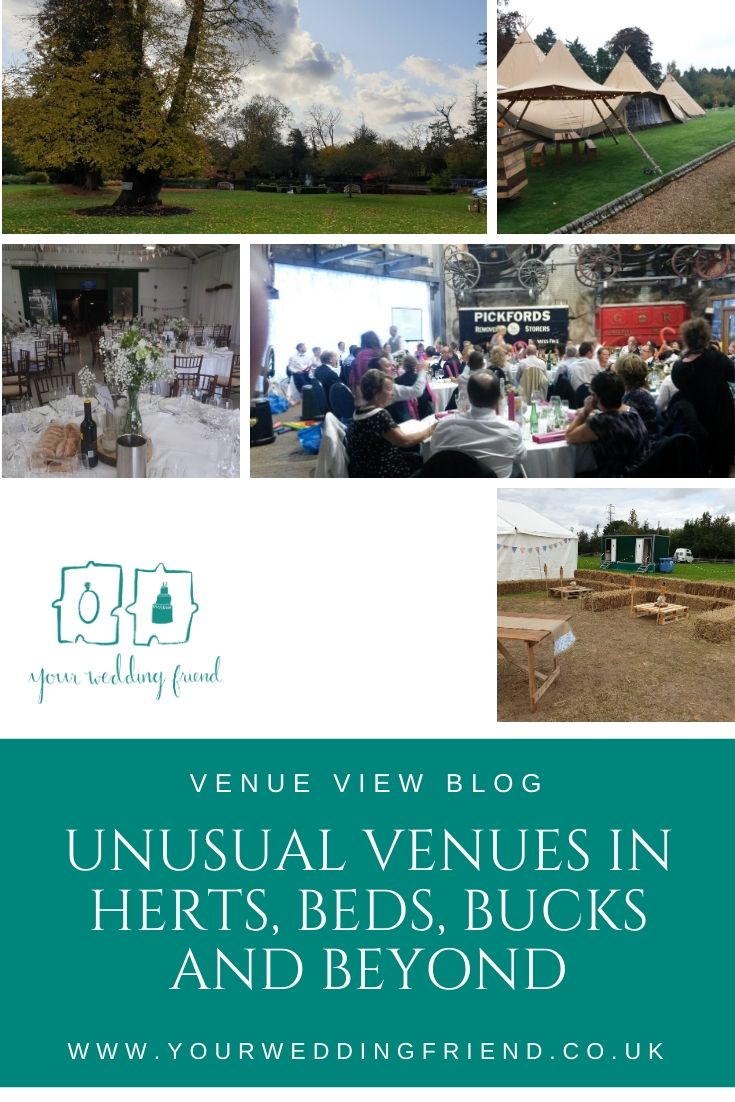 Pictures of the grounds of a venue with a big oak tree, a tipi, the outside of a marquee with hay bales and post portable toilets, wedding breakfast set ups at The Shuttleworth Collection and Stockwood Discovery Centre