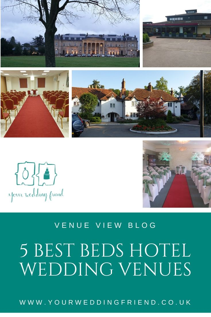 Images of the outside and inside of the venues appearing in this blog including Luton Hoo Hotel, The Sharnbrook, Wyboston Lakes resort, The Barns Hotel Bedford and Mitchell Hall in Cranfield