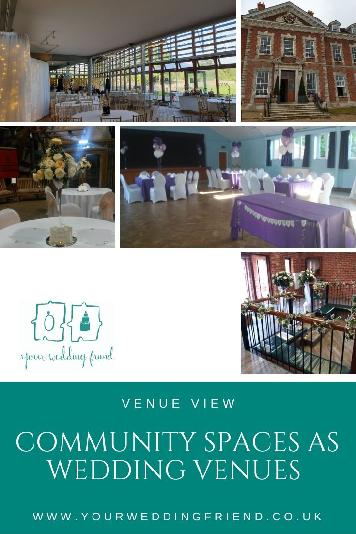 5 pictures are shown and include the refectory at The Forest Centre, Beechwood Park School main building exterior, The Mossman Gallery at Stockwood Discovery Centre, a wedding reception set up in Harlington village hall, and the decorated entrance to Ever