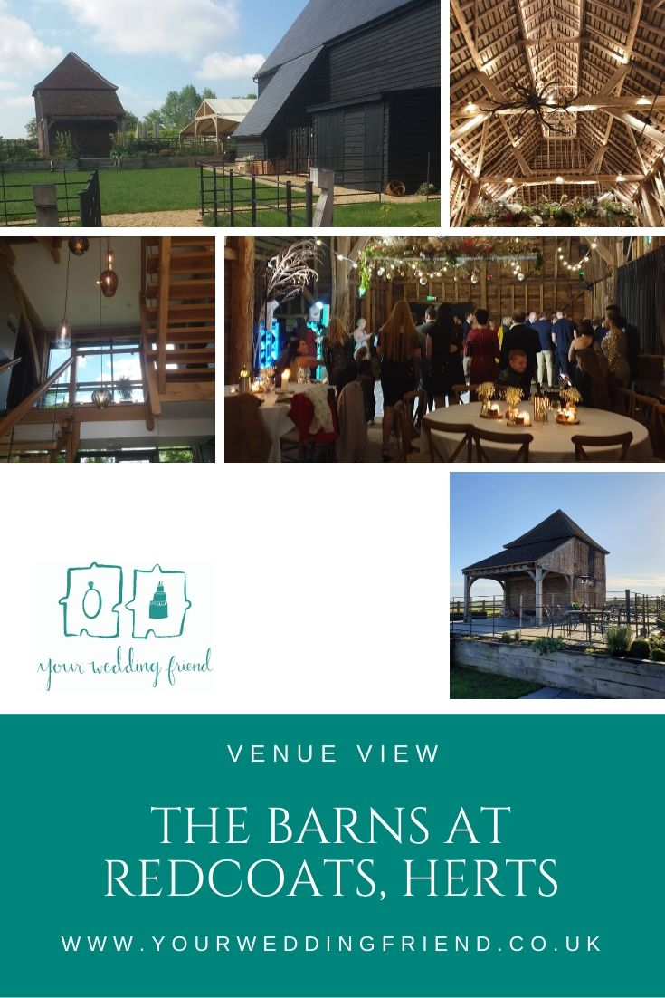 Pictures of the outside of the main barn venue showing the barn and the grain store, plus the staircase of the main accommodation, the roof beams of the barn and guests dancing to a disco with round banqueting tables and chairs in the foreground