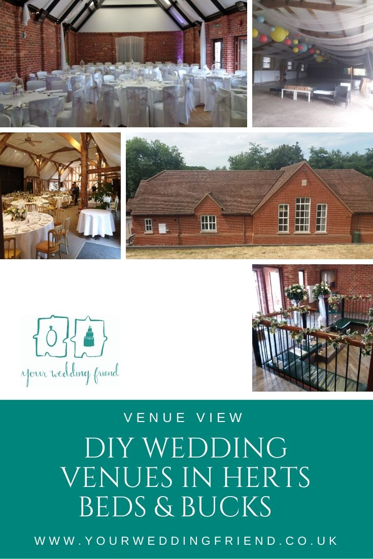 Images are of the venues mentioned in the blog inlcuding the insides of South Farm, Furtho Manor Farm and Eversholt Village Hall. Also shows the outside of Millbrook village hall. All the venues have a rustic look with beams and high ceilings