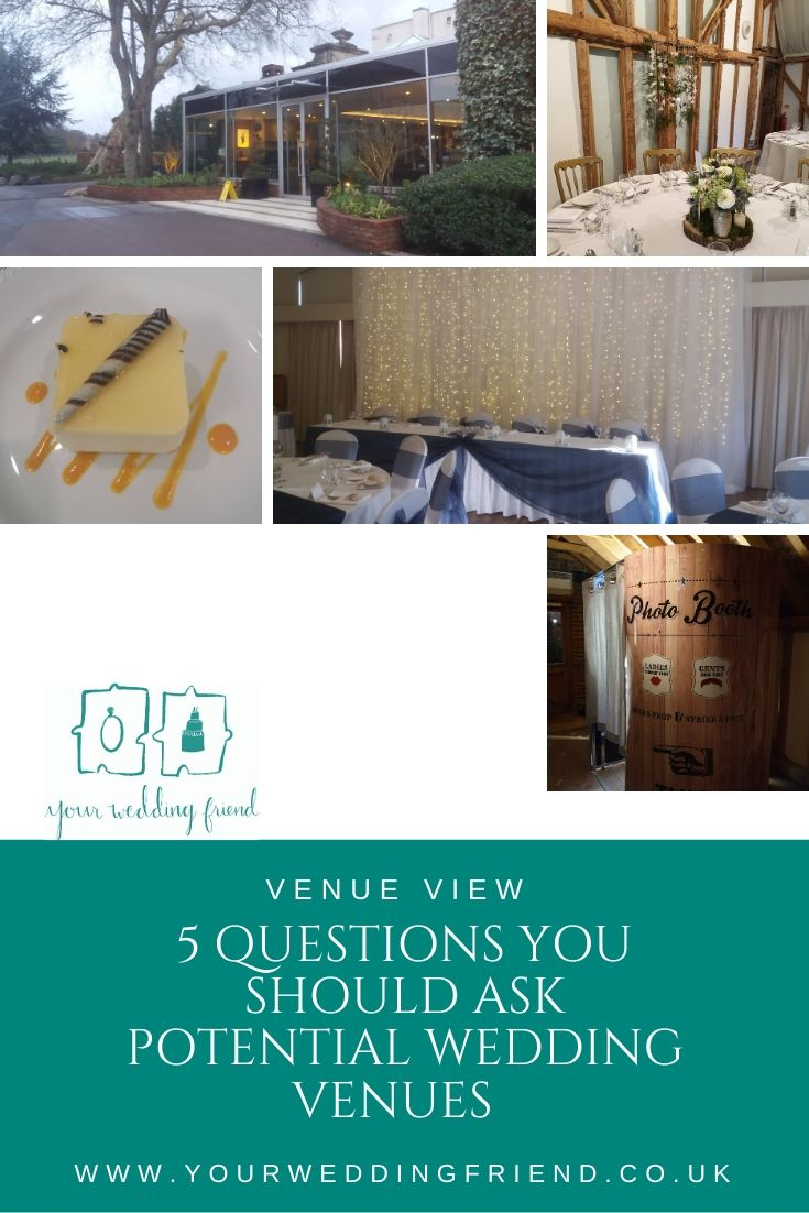 The 5 images shown are of the outside of Sopwell House in St Albans, a round table decorated with a white cloth and flowers in glass vases on a log slice at South Farm, a yummy lemon and vanilla cheesecake style dessert from Aubrey Park Hotel, top table s