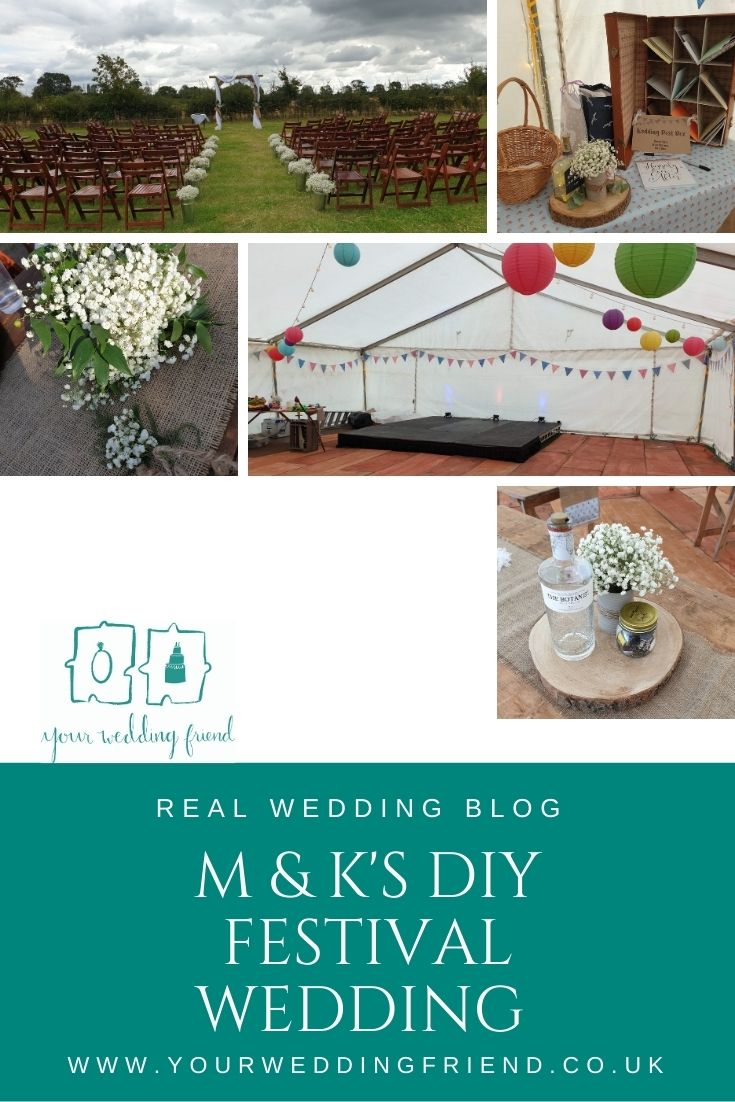 5 images show the outside of a marquee in a field with haybales for relaxed seating and rows of wooden fold up chairs in front of a wooden arch for the ceremony, along with details like the git table vintage suitcase and centre peices made with gin bottle