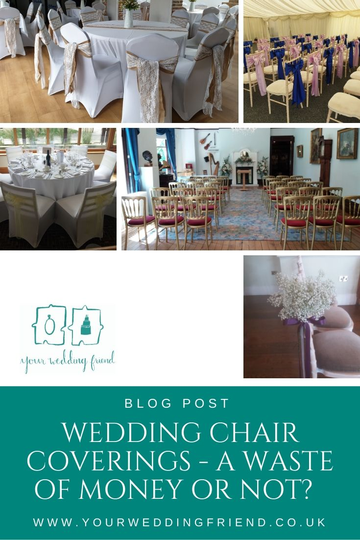 There are 5 pictures offering suggestions on ways to decorate or not decorate your wedding venue chairs, including white stretch chair covers with a hessian and lace sash, stretch covers over larger chairs with subtle lemon yellow bows, blue and pale lila